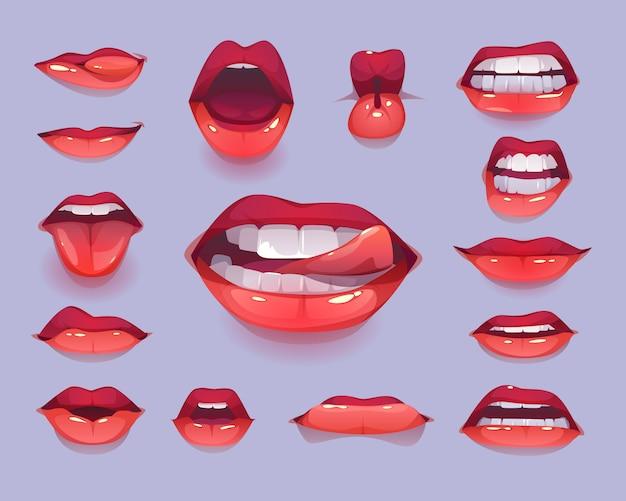 Vrouw mond pictogramserie. rode sexy lippen die emoties uitdrukken Gratis Vector