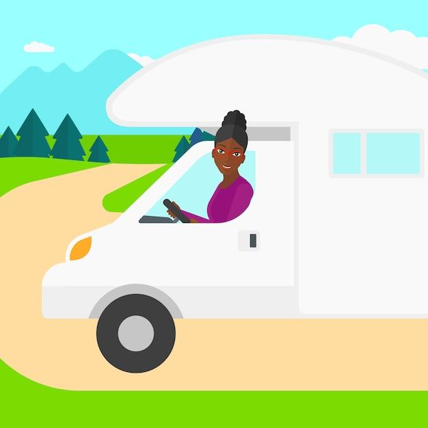 Vrouw motorhome rijden. Premium Vector