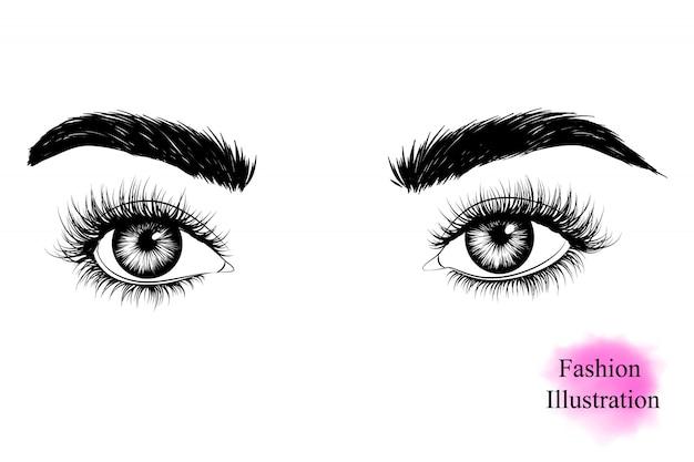 Vrouw ogen met lange wimpers Premium Vector