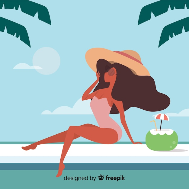 Vrouw om te zonnebaden bij het zwembad Gratis Vector