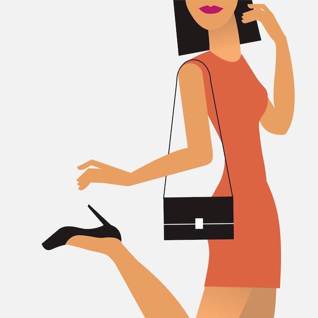 Vrouw onderweg illustratie Gratis Vector