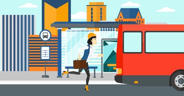 Vrouw ontbreekt bus Premium Vector