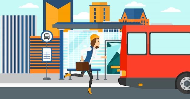 Vrouw ontbreekt bus. Premium Vector