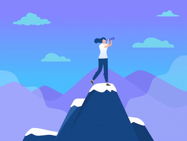 Vrouw op de top van de berg met vlag, succes leiderschap, illustratie, kantoor meisje bereiken doel, landingspagina, sjabloon, ui, web, homepage, poster, banner, flyer Premium Vector