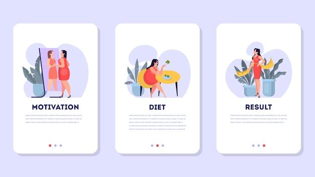 Vrouw op dieet set. idee van gezonde voeding en maaltijdportie. lichaam en meetlint. calorieën in voedsel tellen. cartoon illustratie Premium Vector