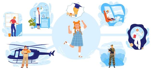 Vrouw professionele werkende platte vectorillustratie. gelukkig meisje stripfiguur met diploma zal in de toekomst werken als arts piloot bouwer wetenschapper spacewoman Premium Vector