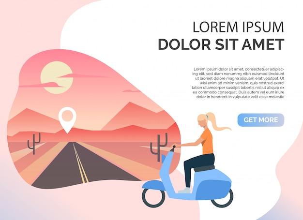 Vrouw rijden scooter, woestijn weg en voorbeeldtekst Gratis Vector