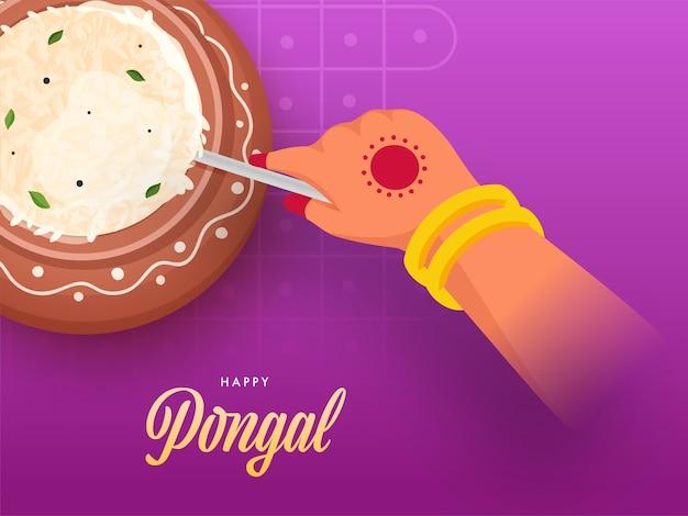 Vrouw roeren gekookte rijst in aarden pot op magenta achtergrond voor gelukkig pongal viering Premium Vector