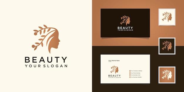 Vrouw schoonheid gezicht en natuurlijk haar logo en visitekaartje Premium Vector