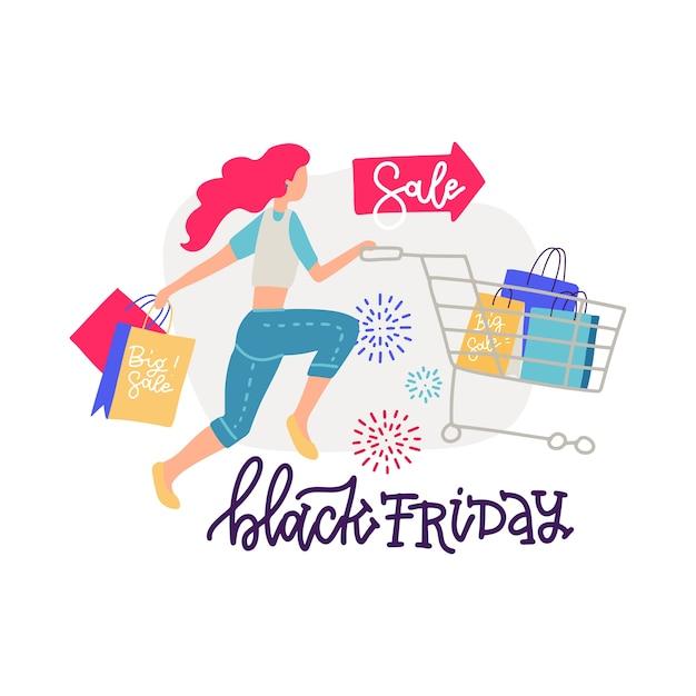 Vrouw shopper met winkelwagentje en papieren zakken. moderne vrouwelijke personage met trolley vol geschenken en cadeautjes in supermarkt of winkelcentrum. belettering met cartoon afbeelding. Premium Vector