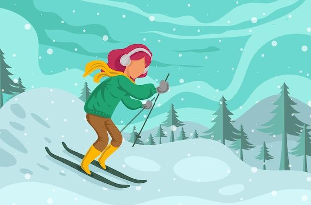 Vrouw skiën geïsoleerd op winter achtergrond Premium Vector