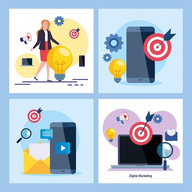 Vrouw smartphones en laptop met icon set van digitale marketing Premium Vector