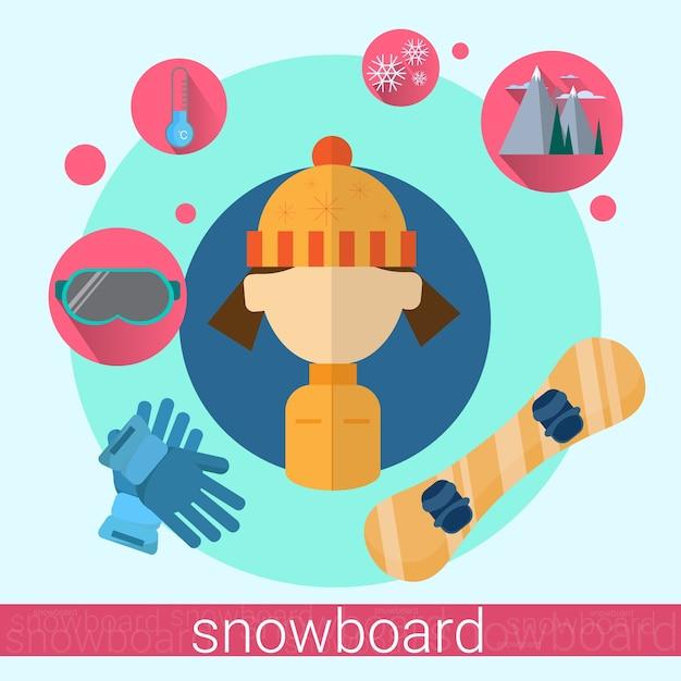Vrouw snowboard-pictogram Premium Vector