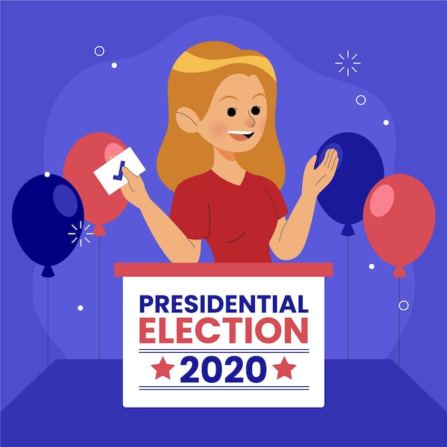 Vrouw stemmen voor concept van de presidentsverkiezingen Gratis Vector