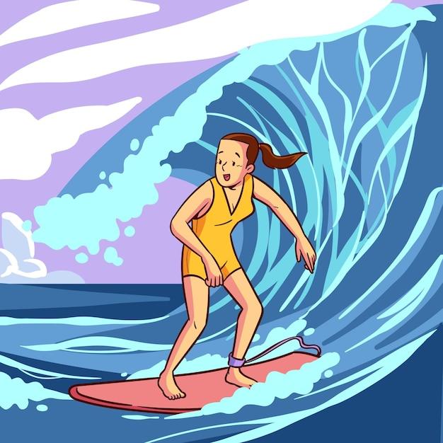 Vrouw surfen geïllustreerd Gratis Vector