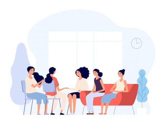 Vrouw therapie. vrouwtjes raadplegen psycholoog depressieve vrouwen counseling aan psychiater in groep. psychoanalyse concept Premium Vector
