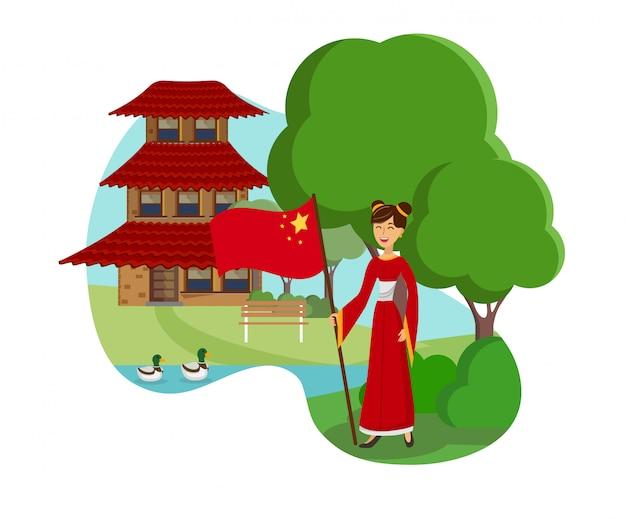 Vrouw uit china vlakke kleur vectorillustratie Premium Vector