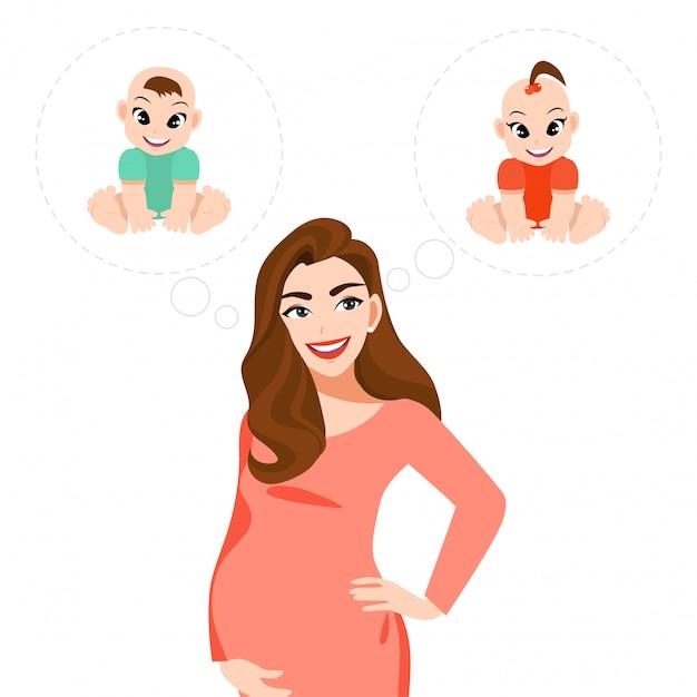 Vrouw van het beeldverhaalkarakter het zwangere denken over als de baby jongen of meisjes de vlakke illustratie van de pictogramstijl is Premium Vector