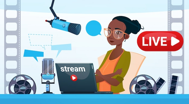 Vrouw video blogger online stream bloggen abonneren concept Premium Vector