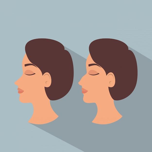 Vrouw voor en na van plastische chirurgie Gratis Vector