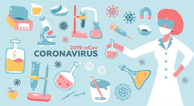 Vrouw wetenschapper of arts onderzoek coronavirus cov in het laboratorium met fles glas equpment. gezondheid en geneeskunde. vlakke afbeelding. Premium Vector