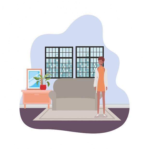 Vrouw woonkamer met uitzicht op de stad door raam Premium Vector