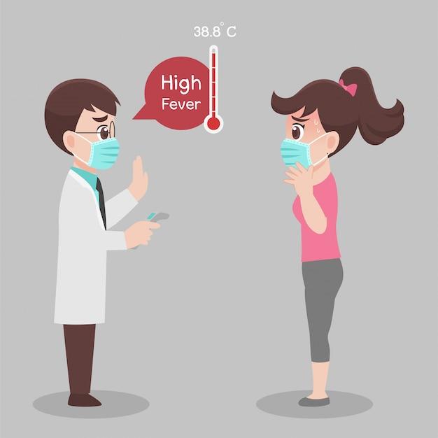 Vrouw ziet arts voor controle zelf, temperatuur voor corona-virusscanning, ze is besmet, resultaten zijn hoge koorts Premium Vector