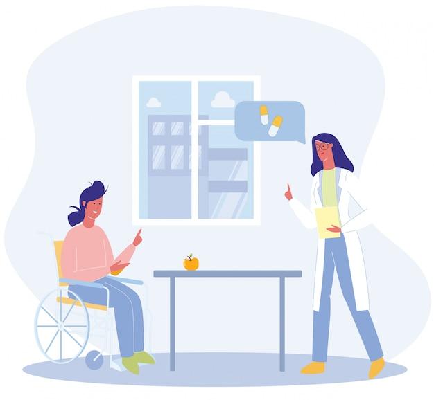 Vrouw zit in rolstoel arts geef aanbeveling Premium Vector