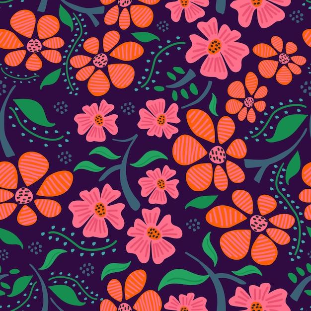 Vrouwelijk bloemenhand getrokken naadloos patroon op purpere achtergrond Premium Vector