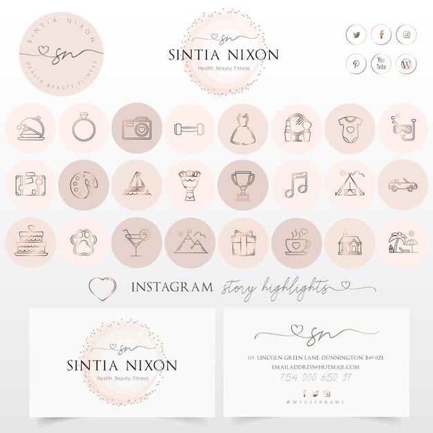 Vrouwelijk embleemontwerp en moderne pictogramreeks Premium Vector