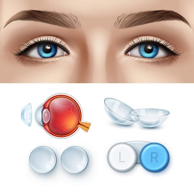 Vrouwelijk gezicht met blauwe ogen en realistische set contactlens met doos en menselijke ooganatomie. Premium Vector