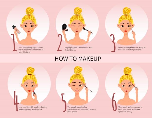 Vrouwelijk karakter met make-up regeling en make-up kit. cartoon stijl. Premium Vector