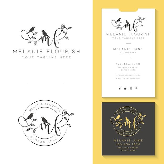 Vrouwelijk logo met sjabloon voor visitekaartjes Premium Vector
