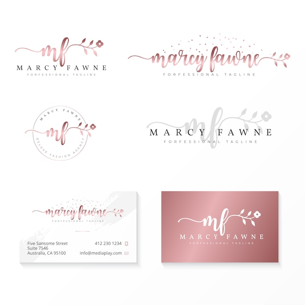 Vrouwelijk logo-verzamelingssjabloon Premium Vector