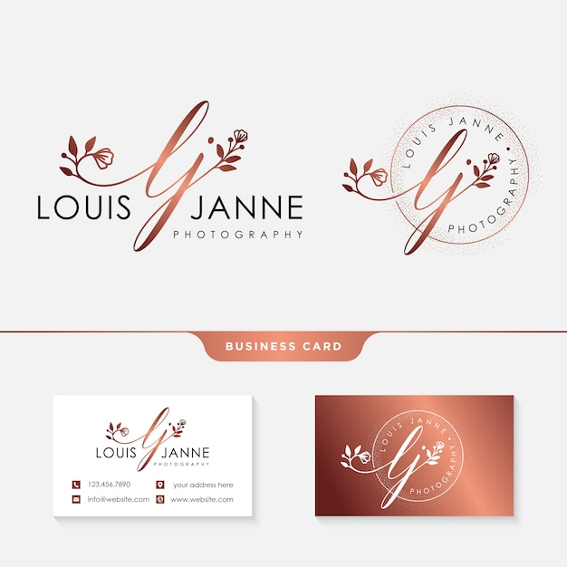 Vrouwelijk logo voor fotografen met visitekaartjesjabloon Premium Vector