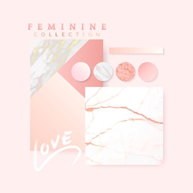 Vrouwelijk roze lay-outontwerp Gratis Vector