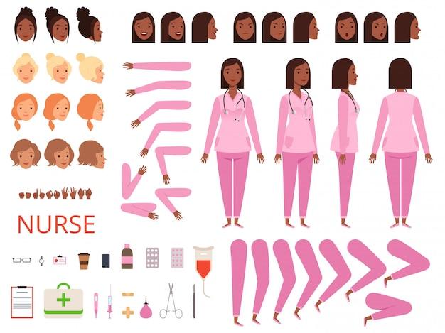 Vrouwelijke arts animatie. verpleegkundige ziekenhuis karakter lichaamsdelen en kleding gezondheidszorg mascotte creatie kit Premium Vector