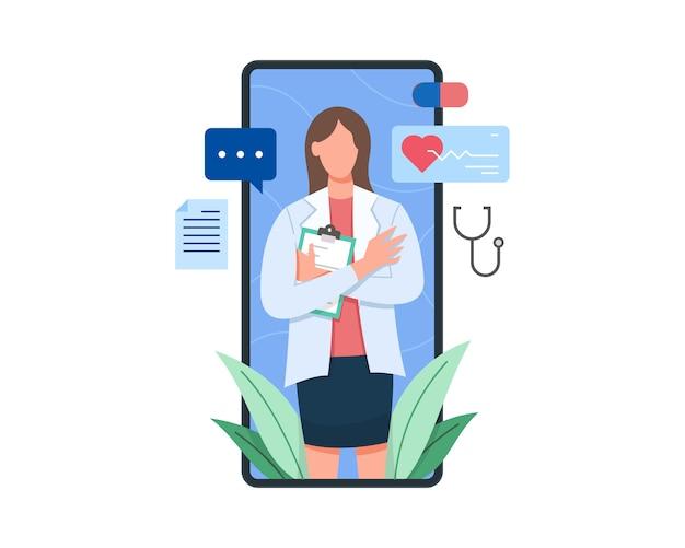 Vrouwelijke arts op het scherm van het klembord van de smartphoneholding Premium Vector