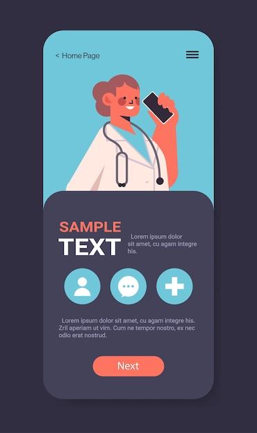 Vrouwelijke arts praten aan de telefoon patiënten raadplegen in mobiele app online raadpleging gezondheidszorg geneeskunde medisch advies concept smartphone scherm verticale kopie ruimte Premium Vector