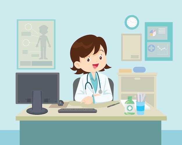 Vrouwelijke arts zitten aan de tafel Premium Vector