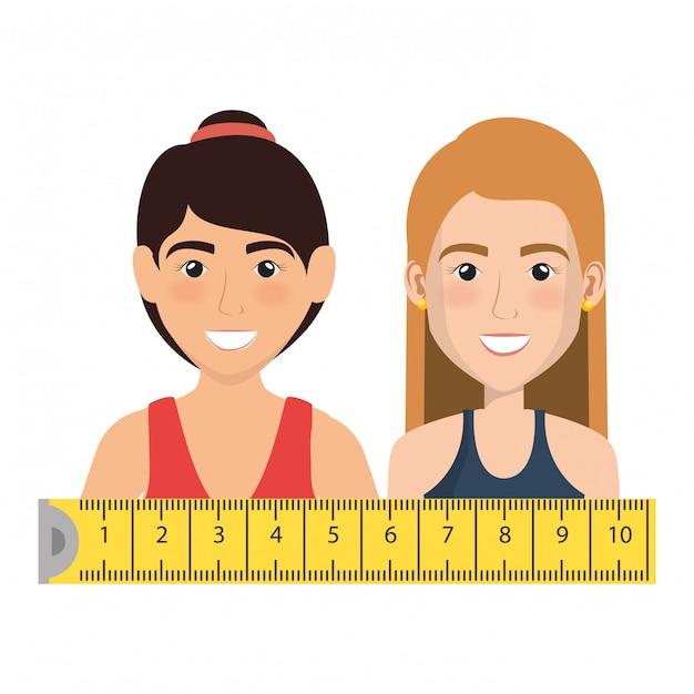 Vrouwelijke atleet met meetlint illustratie Gratis Vector