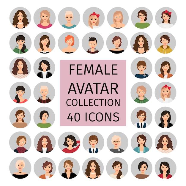 Vrouwelijke avatar collectie set Premium Vector