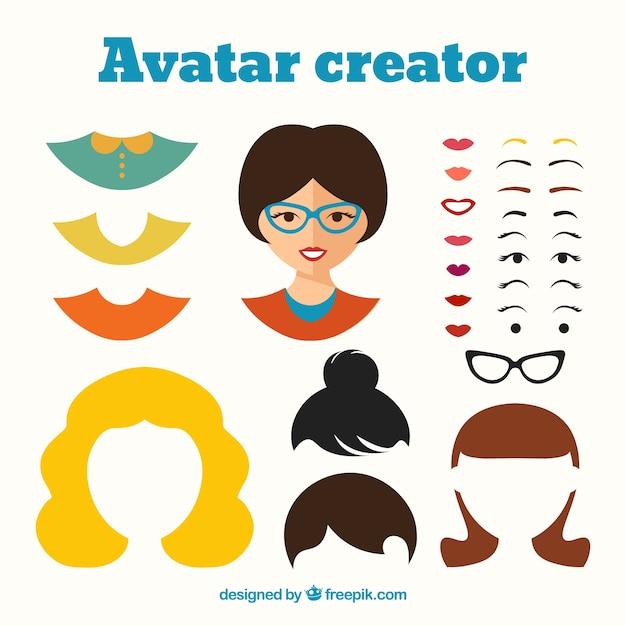 Vrouwelijke Avatar Creator Vector Premium Download
