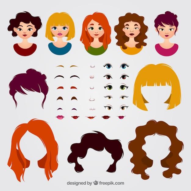 Vrouwelijke avatars en pak elementen Gratis Vector