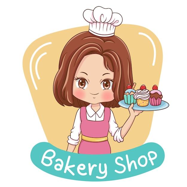 Vrouwelijke baker-illustratie Premium Vector
