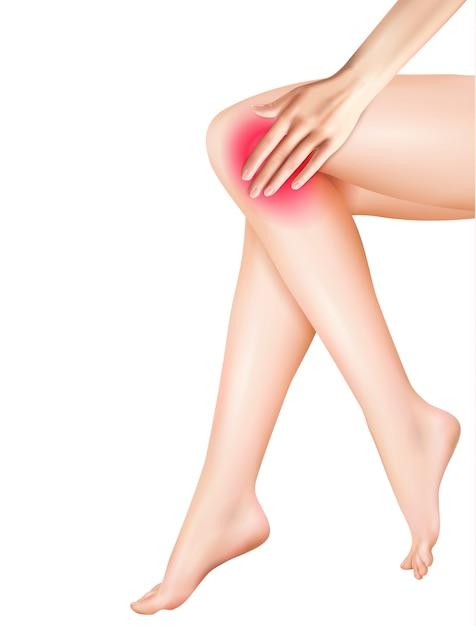 Vrouwelijke benen en pijn realistische afbeelding Gratis Vector