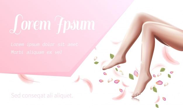 Vrouwelijke benen gezondheidszorg, gladde vrouw voeten flyer Premium Vector