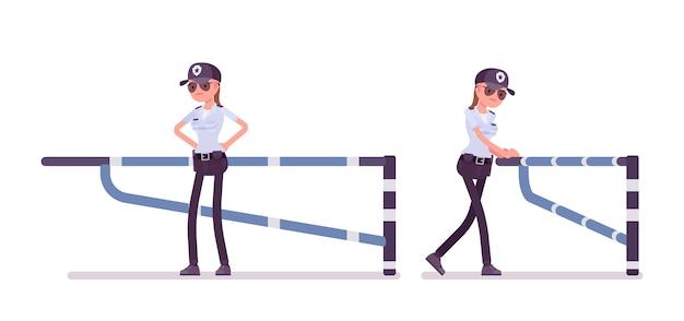 Vrouwelijke bewaker bij mechanische barrière Premium Vector
