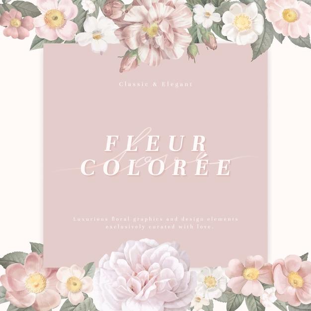Vrouwelijke bloemkaart Gratis Vector