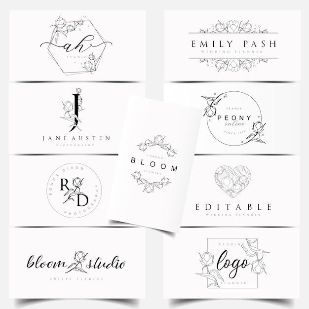 Vrouwelijke botanische logo-ontwerpen Premium Vector